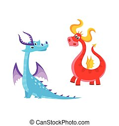 Vector Flat Cartoon Dragons mit Hörnern, Flügelset