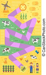 Vector Flat-Stil Illustration der Kinder Farm Brett-Spiel Vorlage.
