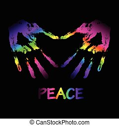 """Vector Friede und Liebe """"graffiti"""" Illustration. Zwei Hände machen einen"""