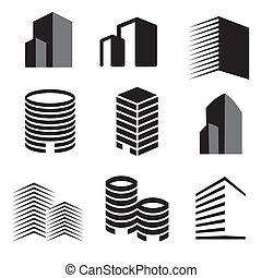 Vector Gebäude Silhouette Ikonen.
