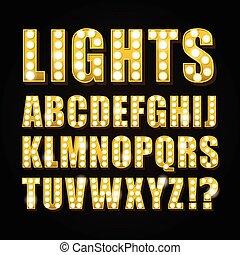Vector gelbe Neon Lampenschriften zeigen Casino oder Theather.