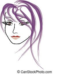 Vector-Gesicht einer wunderschönen Frau