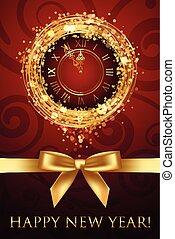 Vector glückliche neue Jahrkarte mit Uhr und Ribbbon.