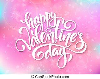 Vector glückliche Valentins-Tagebuchungen auf verschwommenem Hintergrund.