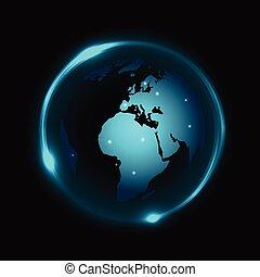 Vector Globe im dunklen Hintergrund mit blauem Neonlicht.