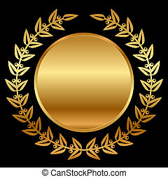 Vector Gold Lorbeer auf Schwarz