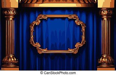 Vector Goldene Rahmen und blauer Vorhang.