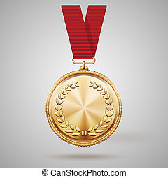 Vector Goldmedaille auf Rotband.