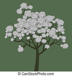 Vector grafische Zeichnung des jungen Blumenbaums.