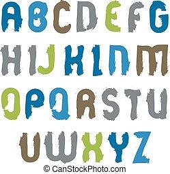 Vector Großbuchstaben gesetzt, handgezeichnetes farbiges Skript, hell d.