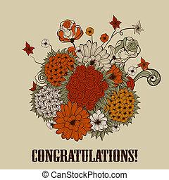 Vector Grußkarte mit einem Strauß bizarrer Blumen