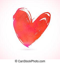 Vector Grunge Karte mit handbemaltes Herz