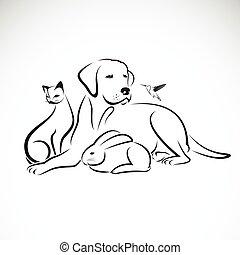Vector Gruppe von Haustieren auf weißem Hintergrund. Hund, Katze, summender Vogel, Kaninchen,