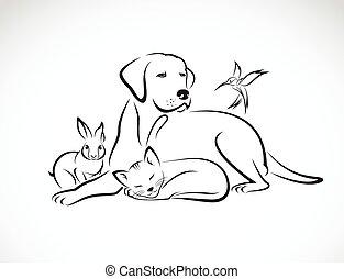 Vector Gruppe von Haustieren - Hund, Katze, Vogel, Kaninchen, isoliert auf weißem Hintergrund.