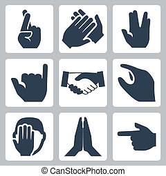 Vector Hände Symbole gesetzt: Kreuzfinger, Beifall, vulcan salut, shaka, handshake, size, facepalm, namaste, pointer.