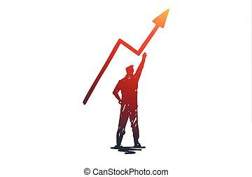 vector., hand, freigestellt, potential, erfolg, gezeichnet, motivation, geschaeftswelt, concept., risiko