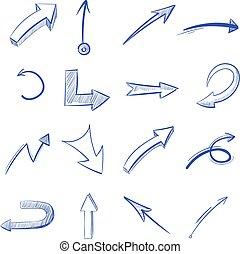 Vector Hand gezeichnet gebogene Pfeile
