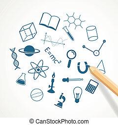 Vector Hand gezeichnete Symbole der Wissenschaft.