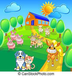 Vector hat lustige Cartoon-Farmtiere aufgestellt
