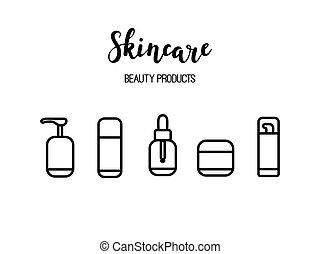 Vector Hautpflegeprodukte kosmetischen Schönheits-Routine Linie Kunst Icons.