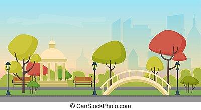 Vector Herbst Stadt öffentlichen Park auf der modernen Stadt Wolkenkratzer Hintergrund. Mehrfarbiger Herbstpark im Stadtzentrum.