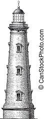 Vector High-Detail Vintage Lighthouse Graveing.