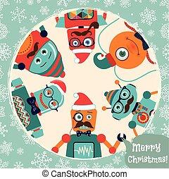 Vector Hipster Retroroboter Weihnachtskarten Illustration