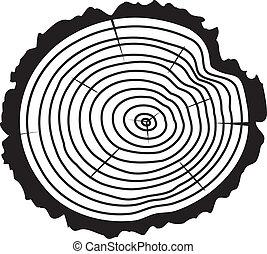 Vector Holzschnitt eines Baumstammes.