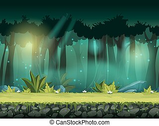 Vector horizontale, nahtlose Abbildung des Waldes in einem magischen Nebel.
