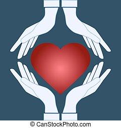 Vector Ikone - Hände mit Herz.