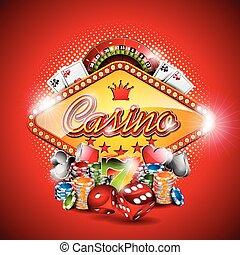 Vector Illustration auf einem Casino-Thema mit Spielelementen auf rotem Hintergrund. EPS 10 Design