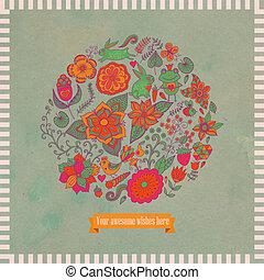 Vector Illustration des Kreises aus Blumen und Vögeln. Rundform aus Schmetterlingen, Blättern und verschiedenen Blumen. Vintage Hintergrund. Helle Sommerrisse aus Blumen mit Grungepapier.