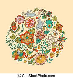 Vector Illustration des Kreises aus Blumen und Vögeln. Rundform aus Schmetterlingen, Blättern und verschiedenen Blumen. Vintage Hintergrund. Helle Sommerrisse aus Blumen