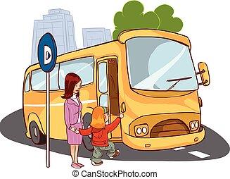 Vector Illustration einer Mutter und eines Kindes im Bus.