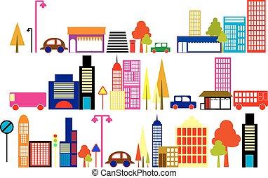 Vector Illustration einer Stadt.