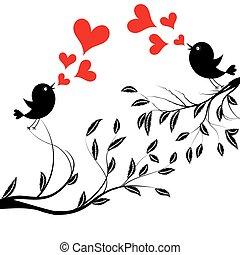 Vector Illustration einer Vögel auf dem Baum
