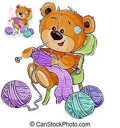 Vector Illustration eines braunen Teddybären sitzen auf einem Stuhl und stricken etwas mit Stricknadeln, Handarbeiten
