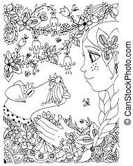 Vector Illustration eines Mädchens mit Sommersprossen zentangl umhüllen Hunde Fuchs Terrier. Doodle Blumen, Rahmen, Wald, Garten. Cartoon. Farbenbuch Anti Stress für Erwachsene. Schwarzweiß.