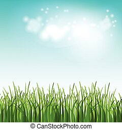 Vector Illustration Grünes Sommerfeld mit Blumen und Gras.