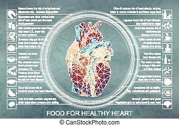 Vector Illustration infographic. Essen für gesundes Herz