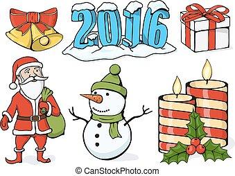 Vector Illustration - Satz von Weihnachts-Icons.