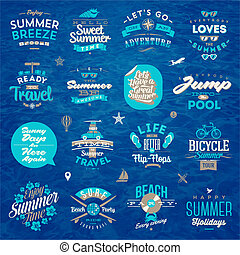 Vector Illustration - Set of travel and summer holiday type design.
