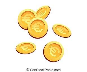 Vector Illustration setzte viele Gold-Münzen Euro Zeichen