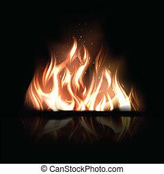 Vector Illustration von brennendem Feuer auf einem schwarzen Hintergrund.