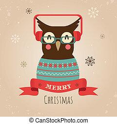 Vector Illustration von Eule, frohe Weihnachtskarte.
