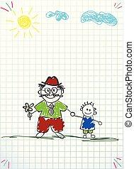 Vector Illustration von Großvater und Enkel zusammen mit Händchen halten