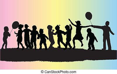 Vector Illustration von Kindern Silhouette.