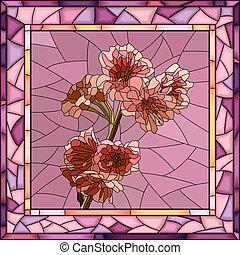 Vector Illustration von Kirschbaum Zweig mit Blumen.