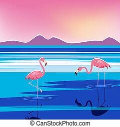 Vector Illustration von rosa Flamingos im See bei Sonnenuntergang, isoliert.
