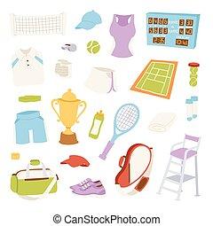 Vector Illustration von verschiedenen stilisierten Tennis Icons.